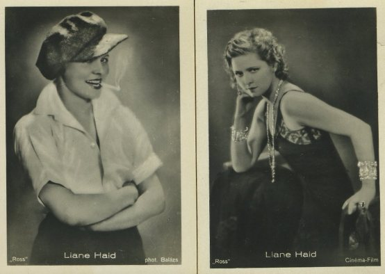 Liane Haid two cards from 1930s Batschari Mercedes German set of Tobacco Cards