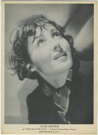 Luise Rainer 1938 R96 Aquatoned in USA Photo Card