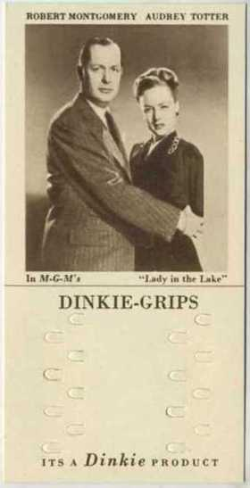Robert Montgomery and Audrey Totter 1948 Dinkie Grips Trading Card