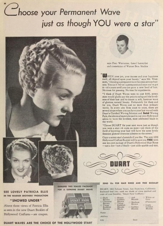Patricia Ellis ad Hollywood Magazine April 1936