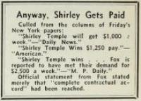 Film Daily reports Shirley Gets Paid July 21 1934