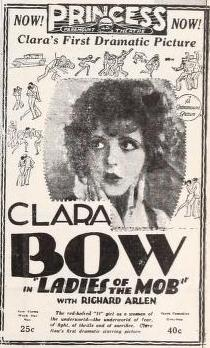 1928 ad for Ladies of the Mob with Clara Bow
