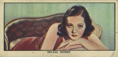Sylvia Sidney 1939 Mars Confectionery Trading Card