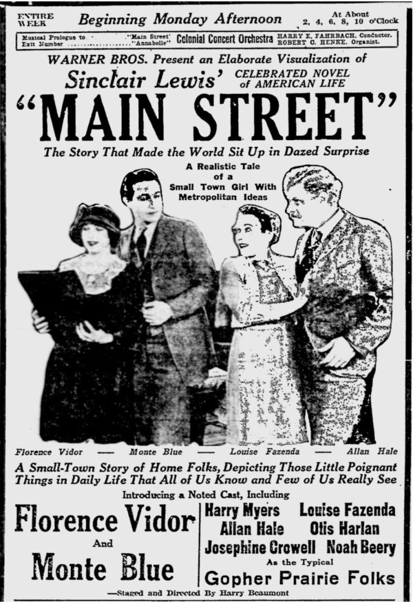 Newspaper Ad for Main Street 1923
