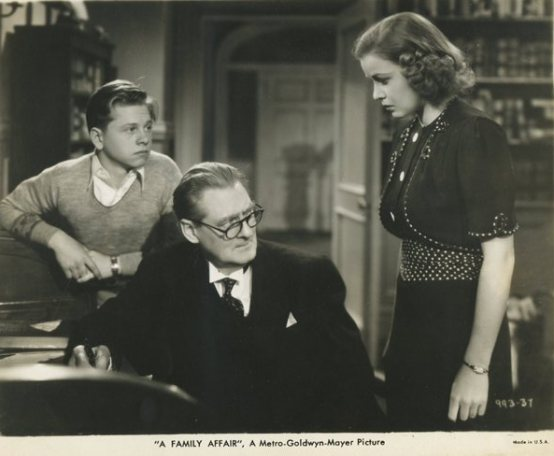 Mickey Rooney, Lionel Barrymore and Cecilia Parker