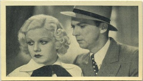 Jean Harlow and Lee Tracy 1940 Max Cinema Cavalcade Tobacco Card