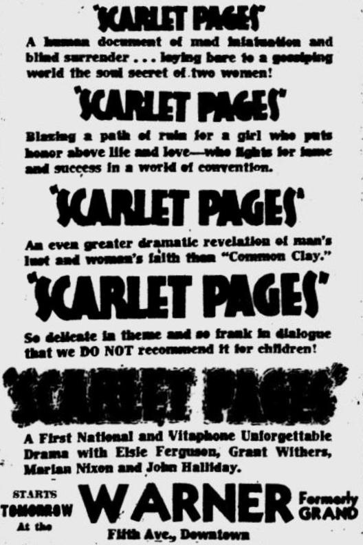 Scarlet Pages 1930 newspaper ad