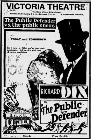The Public Defender 1931 newspaper ad