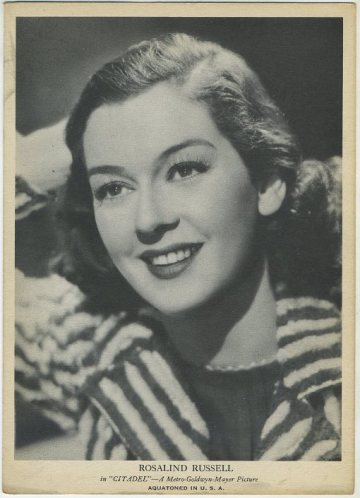 Rosalind Russell 1939 R96 Aquatoned in USA Card