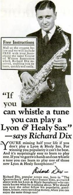 Richard Dix Saxophone Ad from Popular Science September 1926