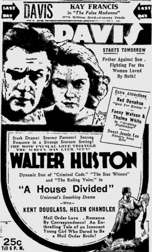 1932 newspaper ad for A House Divided