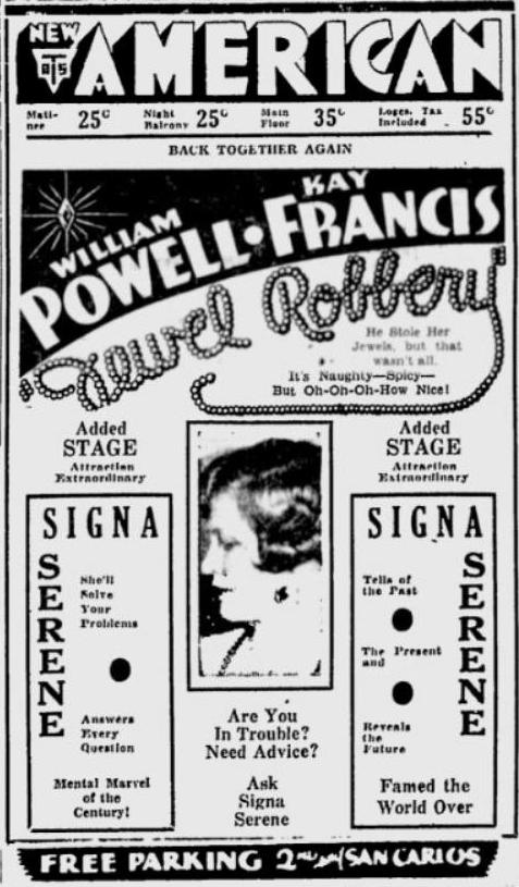 Jewel Robbery 1932 newspaper ad