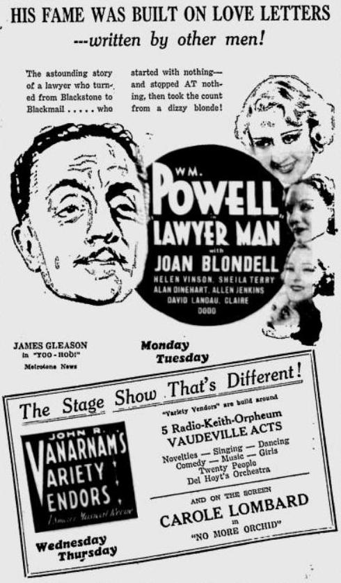 Lawyer Man 1933 newspaper ad
