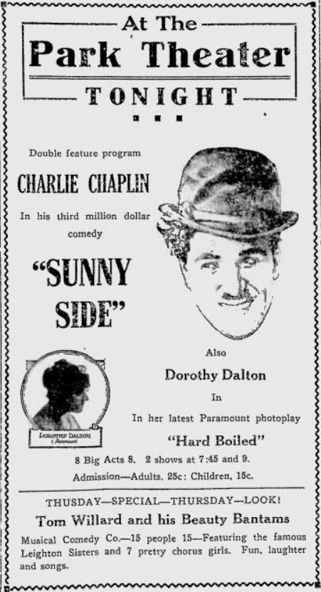 Sunnyside 1919 newspaper ad