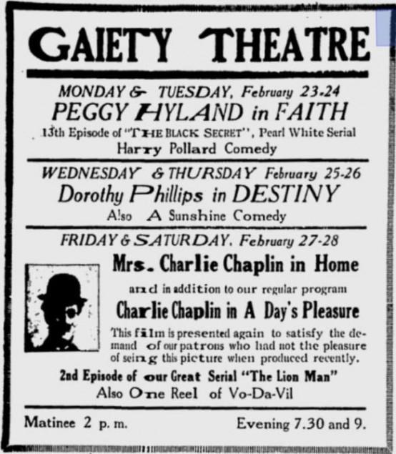 A Days Pleasure 1920 newspaper ad