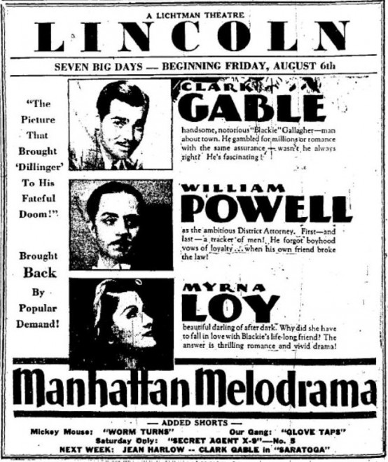 Manhattan Melodrama 1937 newspaper ad