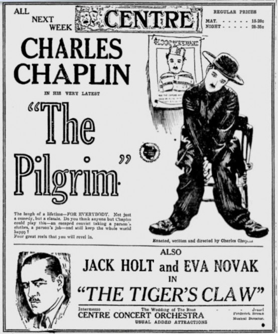 The Pilgrim 1923 newspaper ad