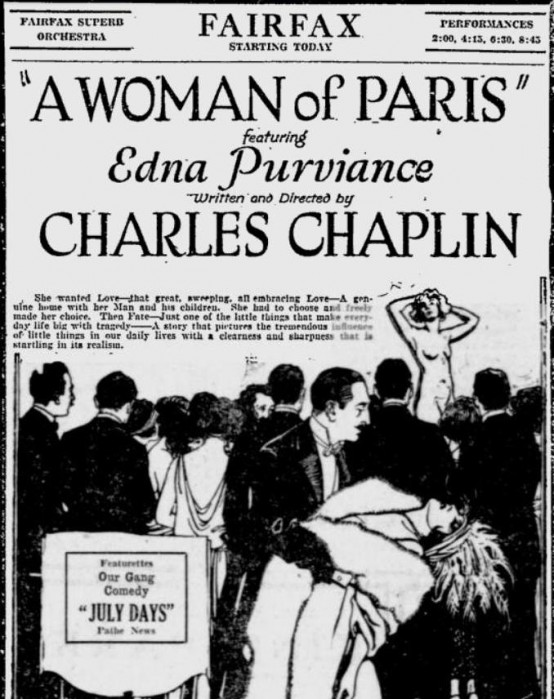 A Woman of Paris 1924 newspaper ad