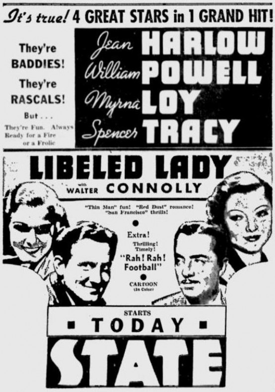 Libeled Lady 1936 newspaper ad