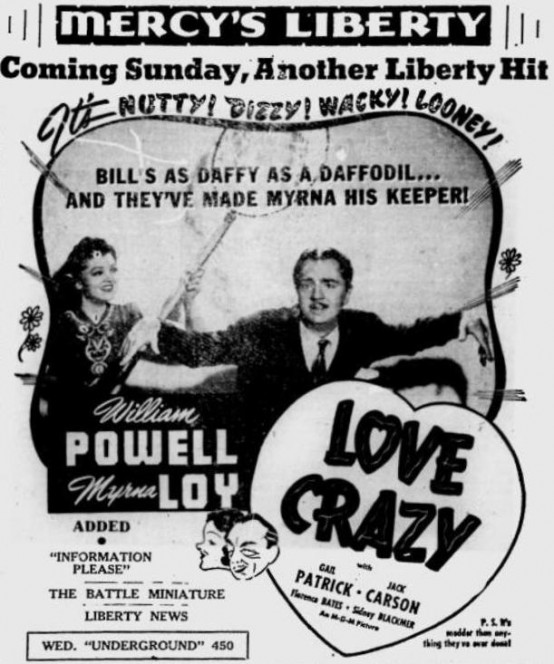 Love Crazy 1941 newspaper ad
