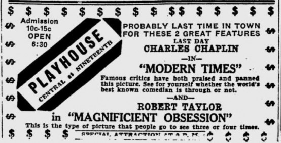 Modern Times 1936 Newspaper ad