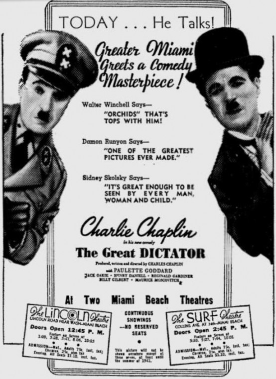 The Great Dictator 1940 newspaper ad