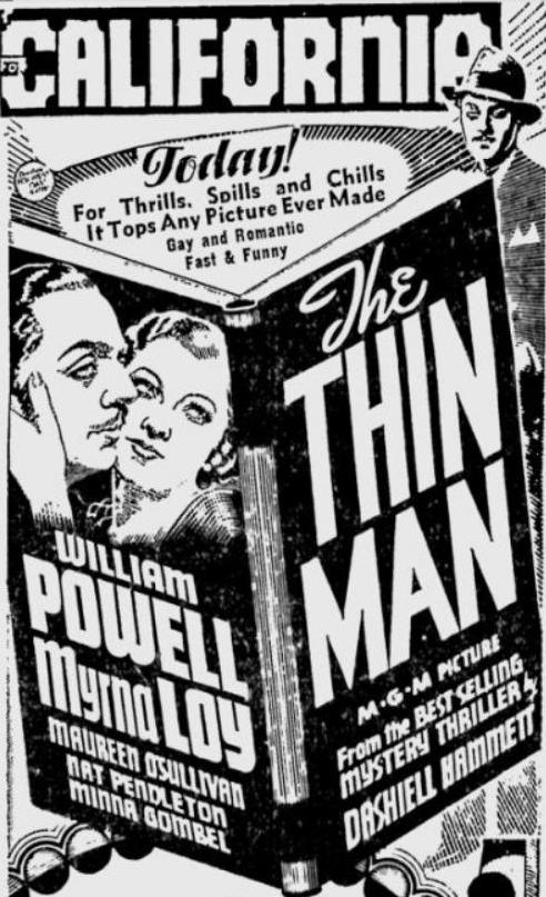 The Thin Man 1934 newspaper ad