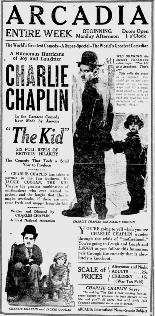 The Kid 1921 Newspaper ad