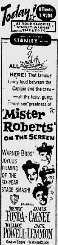 Mister Roberts 1955 newspaper ad