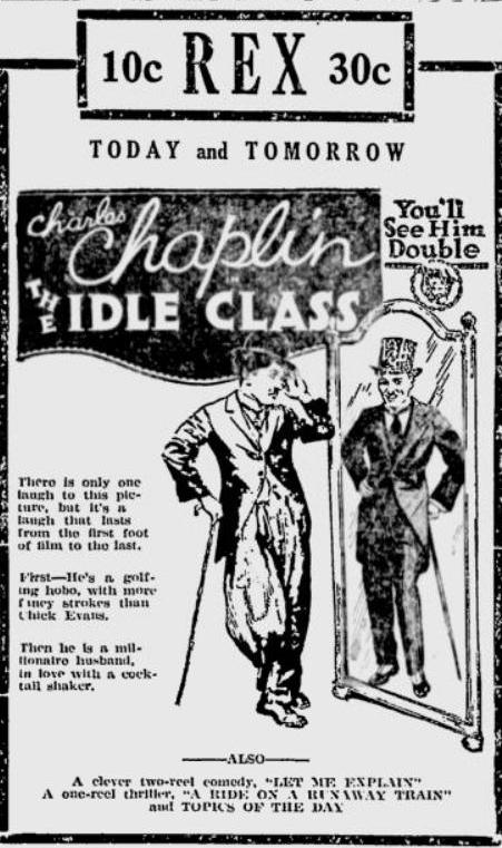 The Idle Class 1921 newspaper ad