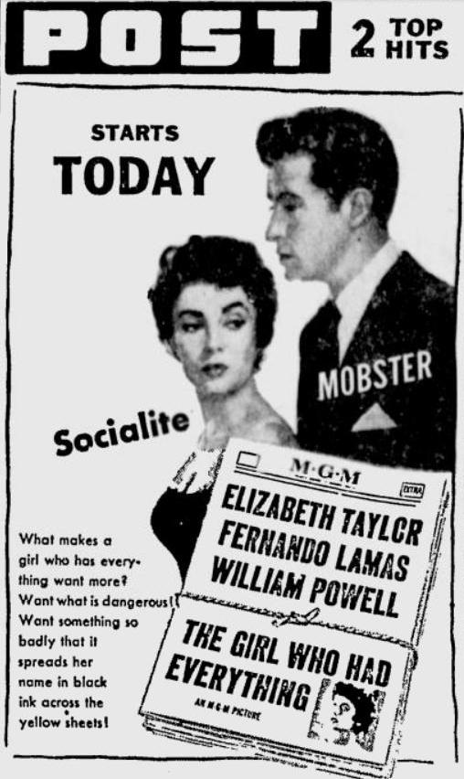 The Girl Who Had Everything 1953 newspaper ad