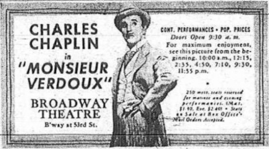 Monsieur Verdoux 1947 newspaper ad