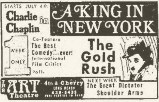A King in New York 1974 newspaper ad