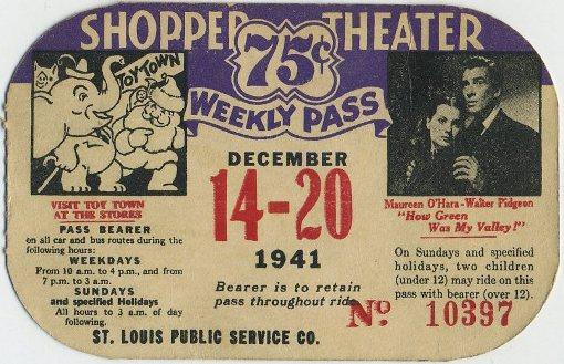 Walter Pidgeon and Maureen OHara 1941 Bus Ticket Ephemera