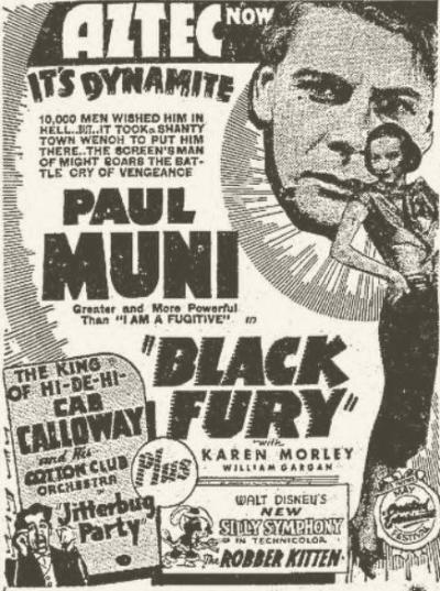 Black Fury 1935 Newspaper ad