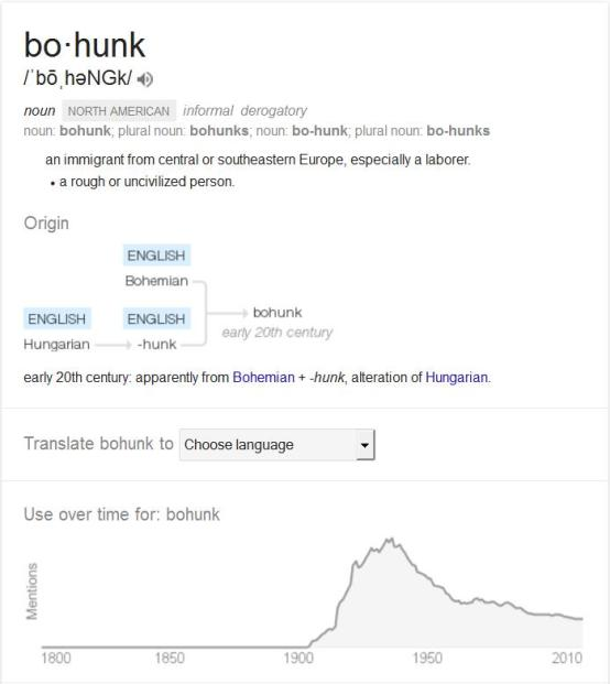 "Above: Google bohunk and this is what you get. I think we can safely extrapolate the meaning of ""hunkie"" from this as well."