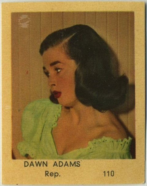 Dawn Addams 1954 Klene VAL Bubble Gum Trading Card