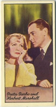 Greta Garbo and Herbert Marshall 1935 Carreras Famous Film Stars
