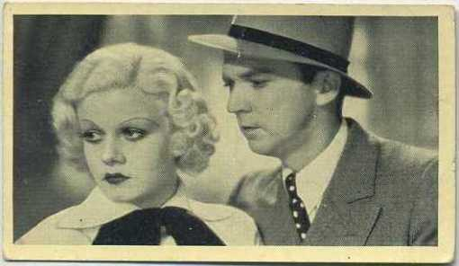 Lee Tracy with Jean Harlow in Bombshell on 1940 Max Cinema Cavalcade Tobacco Card