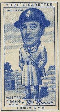Walter Pidgeon 1949 Turf Cigarettes Mrs Miniver Card