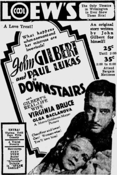 Downstairs 1932 newspaper ad