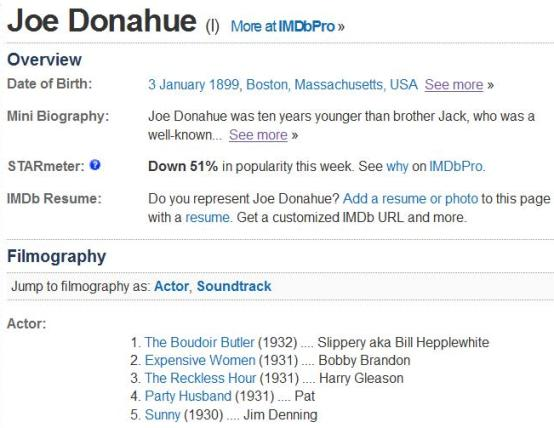 Joe Donahue IMDb page with no date of death