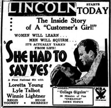 She Had to Say Yes 1933 Newspaper ad