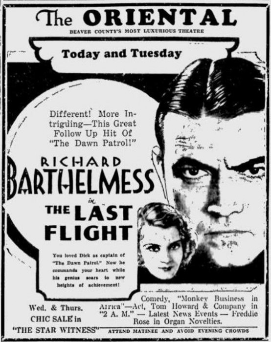 The Last Flight 1931 newspaper ad