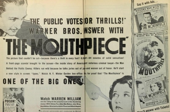 The Mouthpiece 1932 trade ad