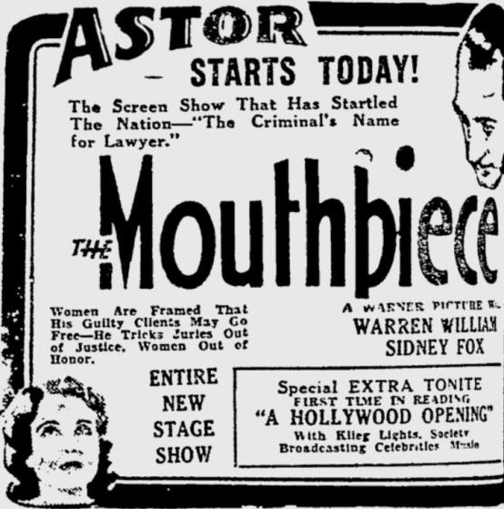 The Mouthpiece 1932 Newspaper Ad