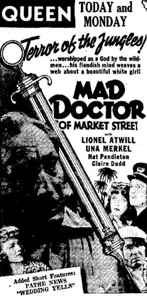 The Mad Doctor of Market Street 1942 newspaper ad