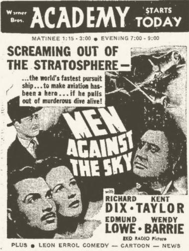 Men Against the Sky newspaper ad, The Daily Mail of Hagerstown MD, September 20, 1940, page 3