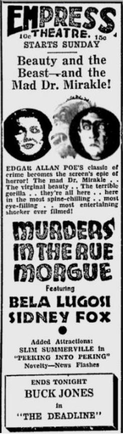 Murders in the Rue Morgue newspaper ad found in Spokane Daily Chronicle, July 16, 1932, page 6