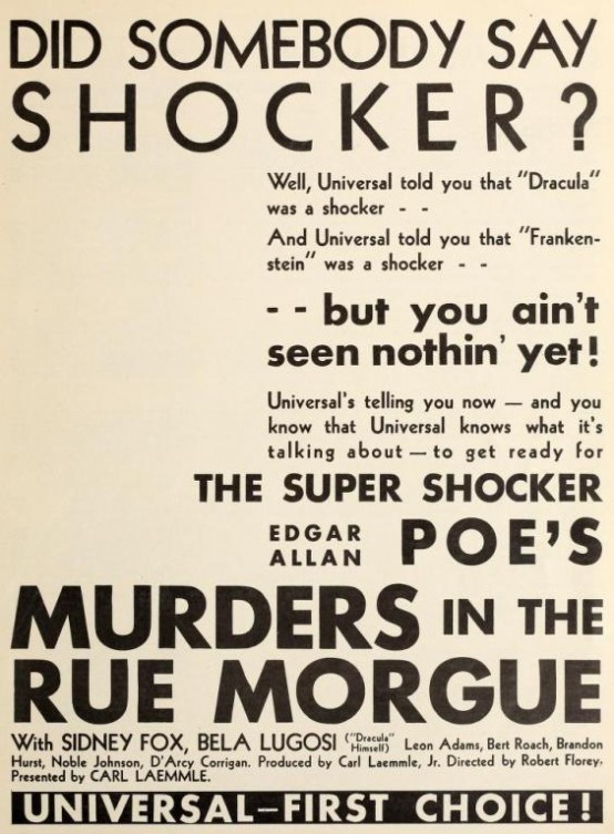 Murders in the Rue Morgue 1931 trade ad